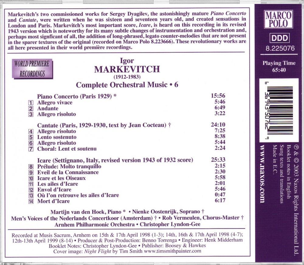 Markevich: Piano Concertos (Back), Marco Polo 8.225076