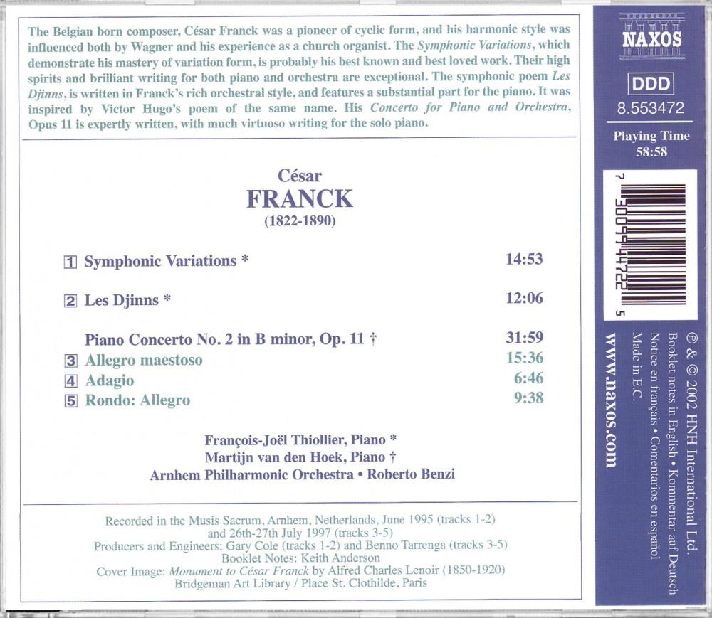 Franck: Piano Concerto in b (Back), Naxos 8.553472