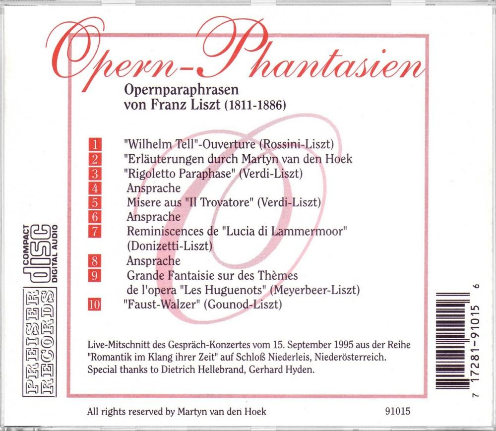 Opera Fantasies I LIVE (Back), Preiser Records 91015