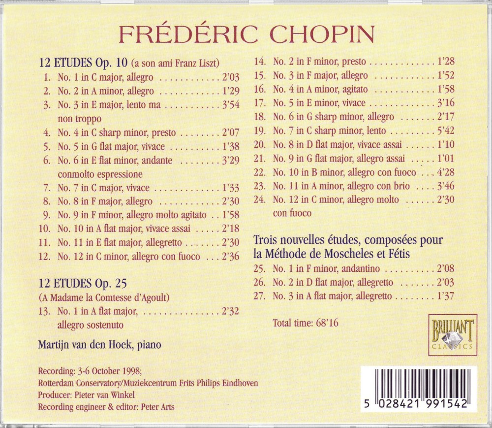 Chopin, Etudes Op. 10 & Op. 25 (Back), Brilliant Classics 99154