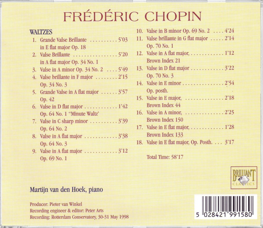 Chopin, Waltzes (Back), Brilliant Classics 99158