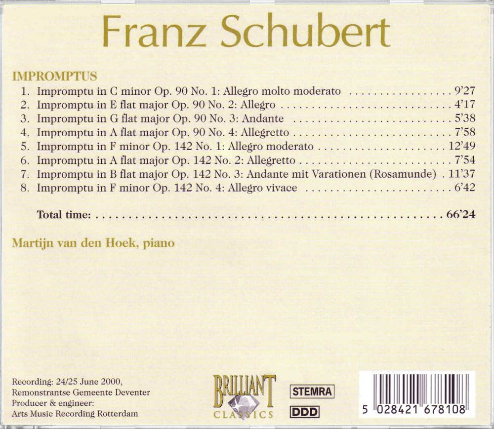 Schubert, Impromptus Op. 90 & 142 (Back), Brilliant Classics 99678/10