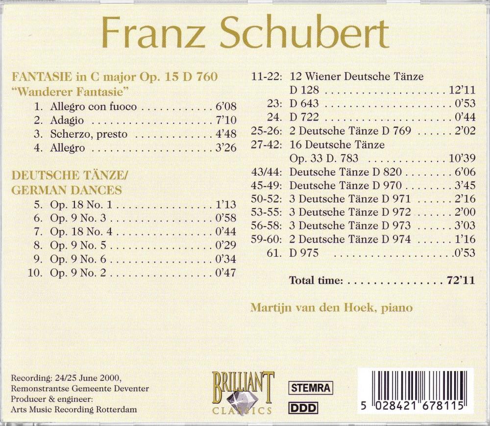 Schubert, Wanderer Fantasie Op. 15, Deutsche Tänze (Back), Brilliant Classics 99678/11