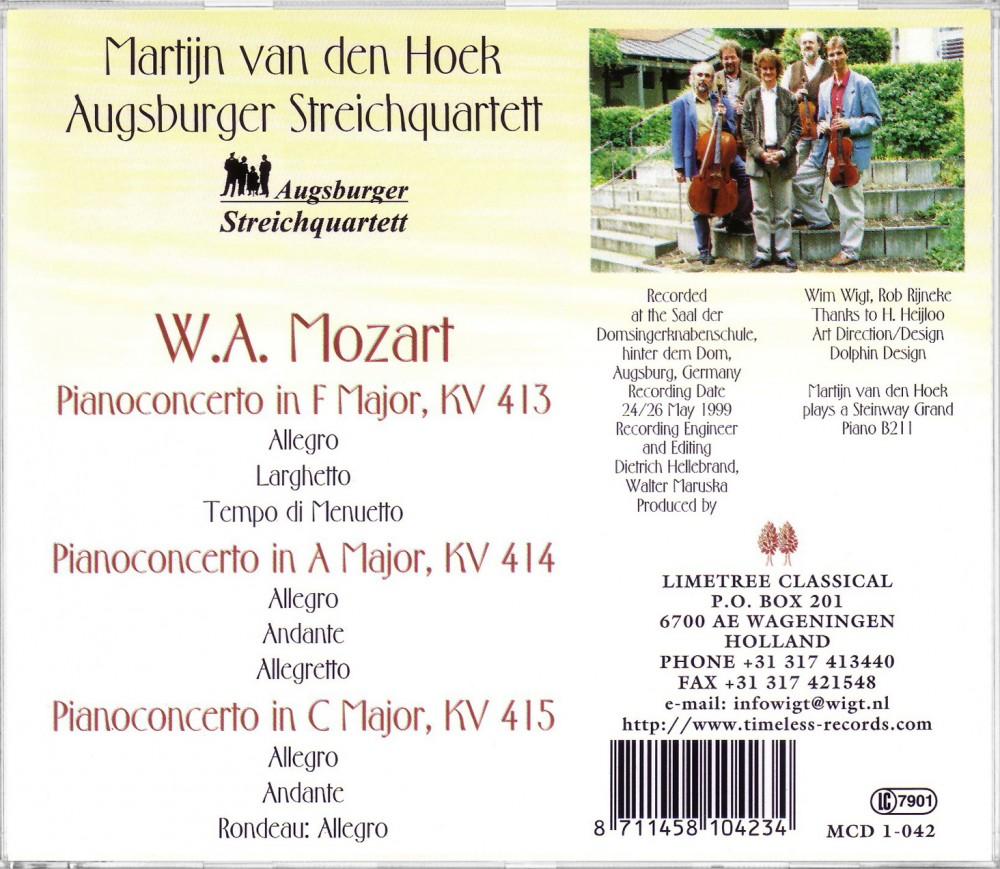 Mozart, Piano Concertos (Back), Limetree Records 1-042