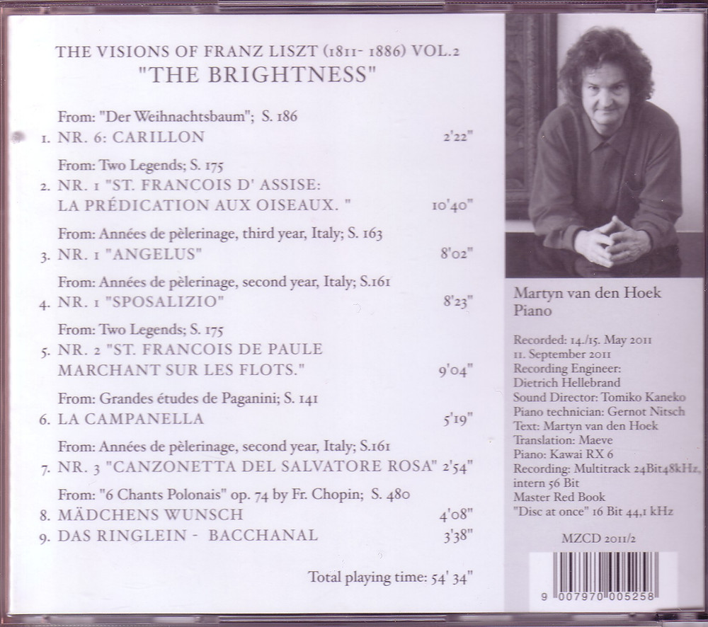 "The Visions of Franz Liszt Vol.2 ""The Brightness"" (Back), MZCD2011/2"