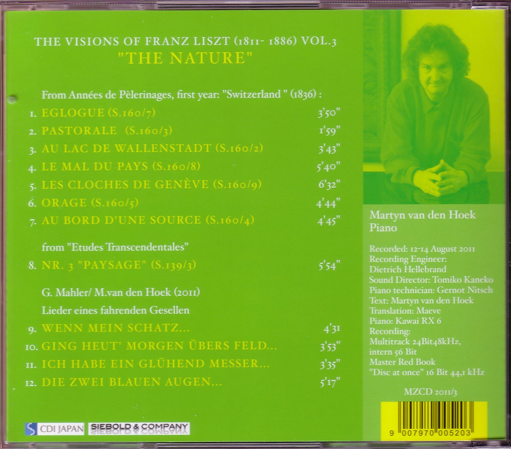 """The Visions of Franz Liszt Vol.3 """"The Nature"""" (Back), MZCD 2011/3"""