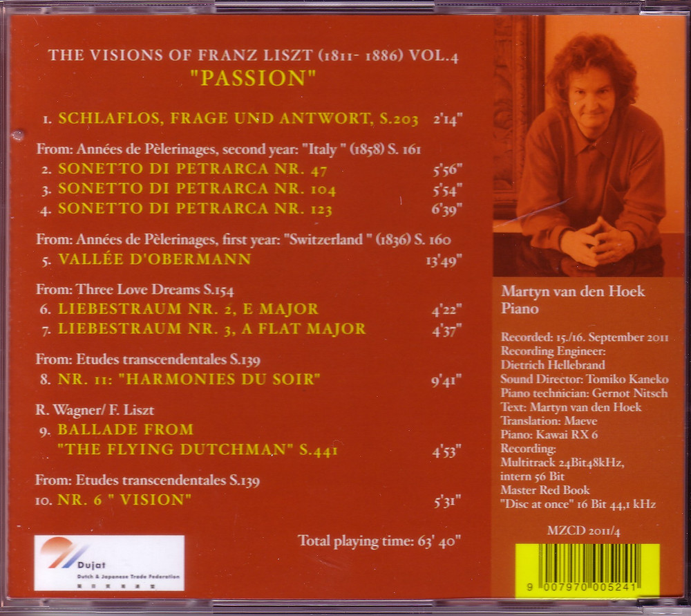 """The Visions of Franz Liszt Vol.4 """"The Passion"""" (Back), MZCD 2011/4"""